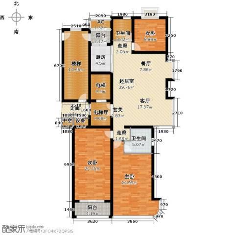 鲁商中心3室0厅2卫1厨160.00㎡户型图