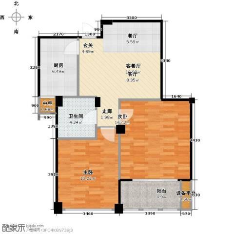 春江名城2室1厅1卫1厨72.00㎡户型图