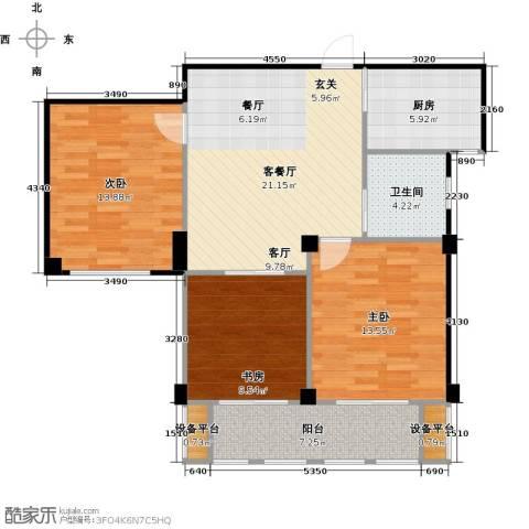 春江名城3室1厅1卫1厨84.00㎡户型图