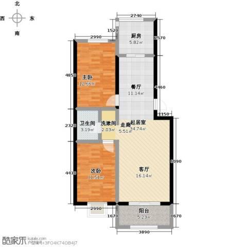 金坤新城花苑2室0厅1卫1厨105.00㎡户型图