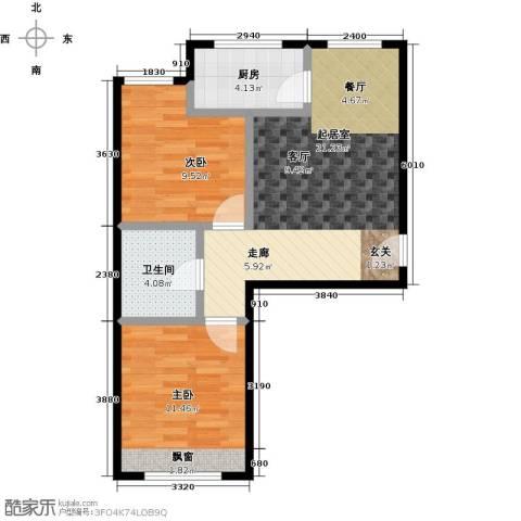 哈东城市公元2室0厅1卫1厨64.00㎡户型图