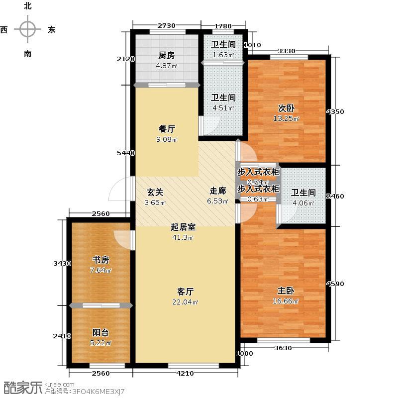 山水家园134.82㎡6号楼户型3室2厅1卫