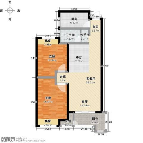 绿地外滩1号2室1厅1卫1厨88.00㎡户型图
