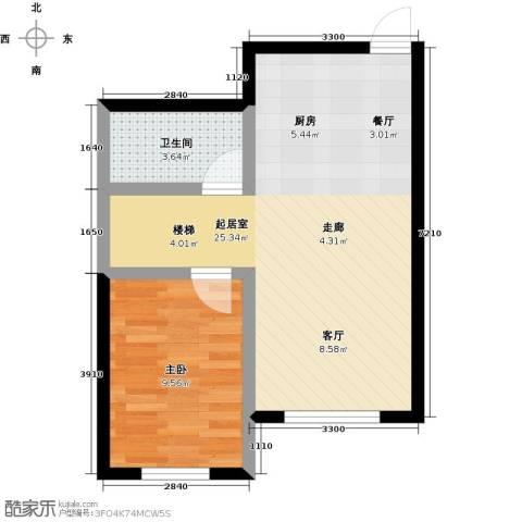 哈东上城1室0厅1卫0厨60.00㎡户型图
