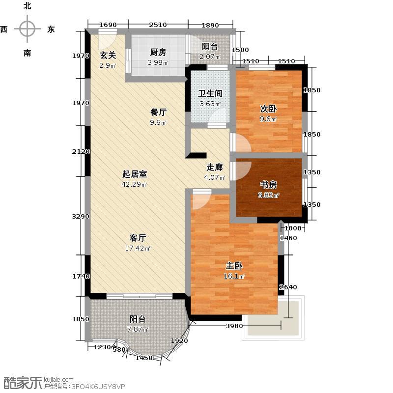南国华城120.90㎡三房两厅一卫户型3室2厅1卫