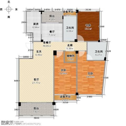 春江名城3室1厅2卫1厨140.00㎡户型图