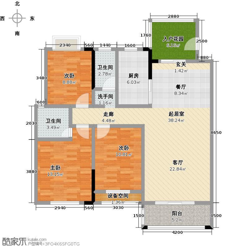 龙城天地二期121.72㎡D户型三室两厅一厨两卫户型3室2厅2卫
