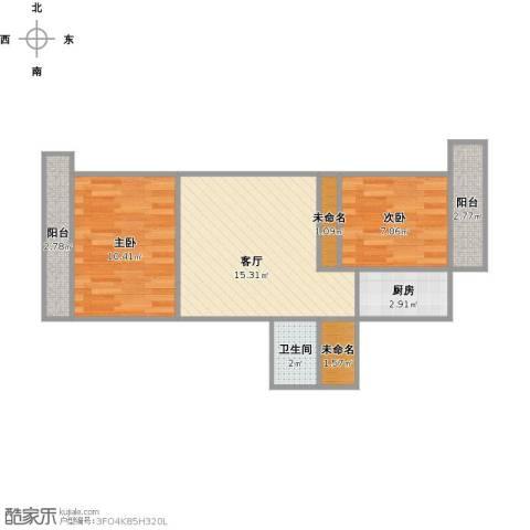 乐山小区2室1厅1卫1厨64.00㎡户型图