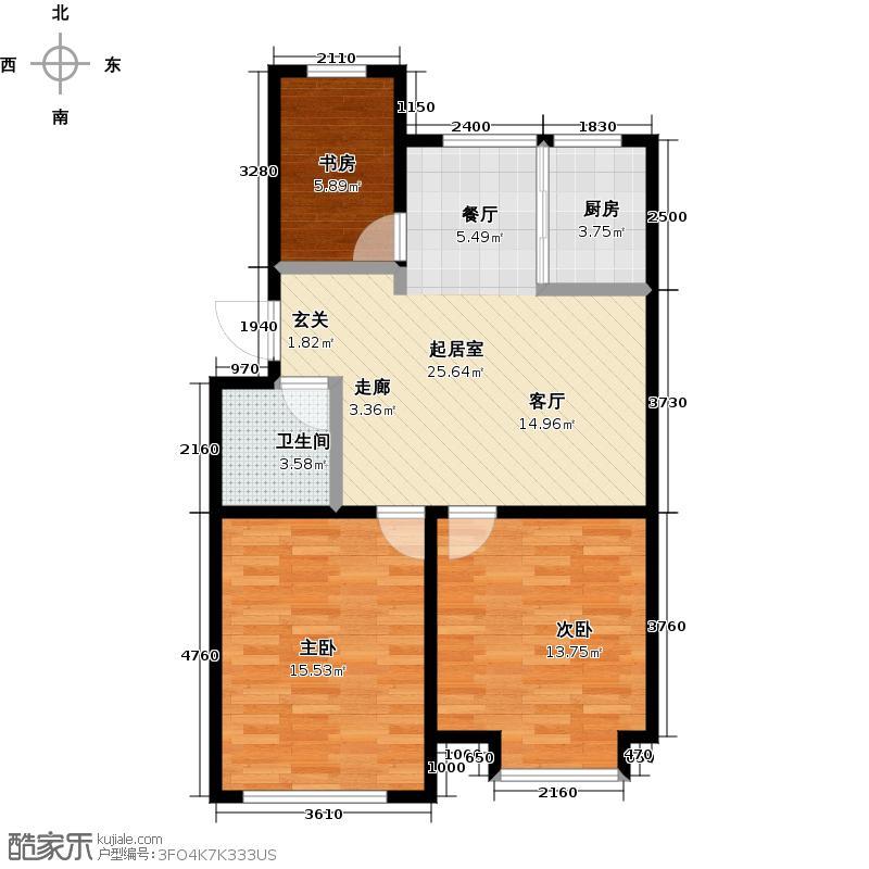 山水家园110.15㎡10号楼户型3室2厅1卫