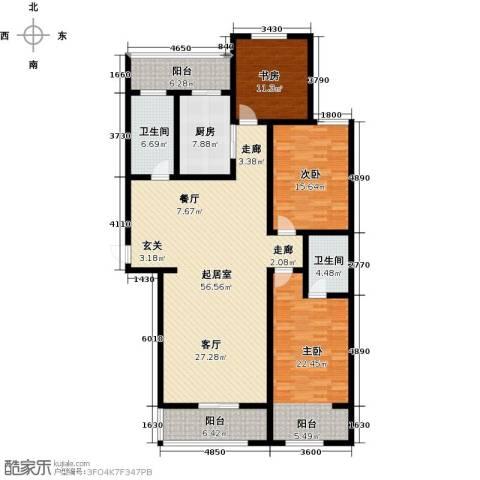鑫泰园3室0厅2卫1厨156.00㎡户型图