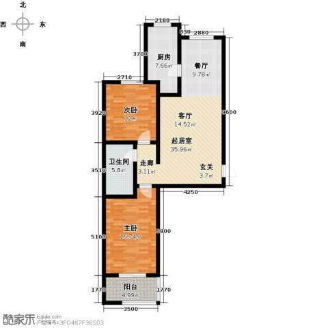 鑫泰园2室0厅1卫1厨95.00㎡户型图