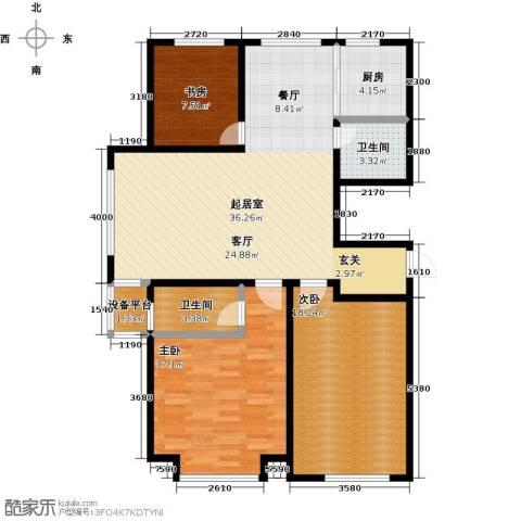 山水家园3室0厅2卫1厨128.00㎡户型图