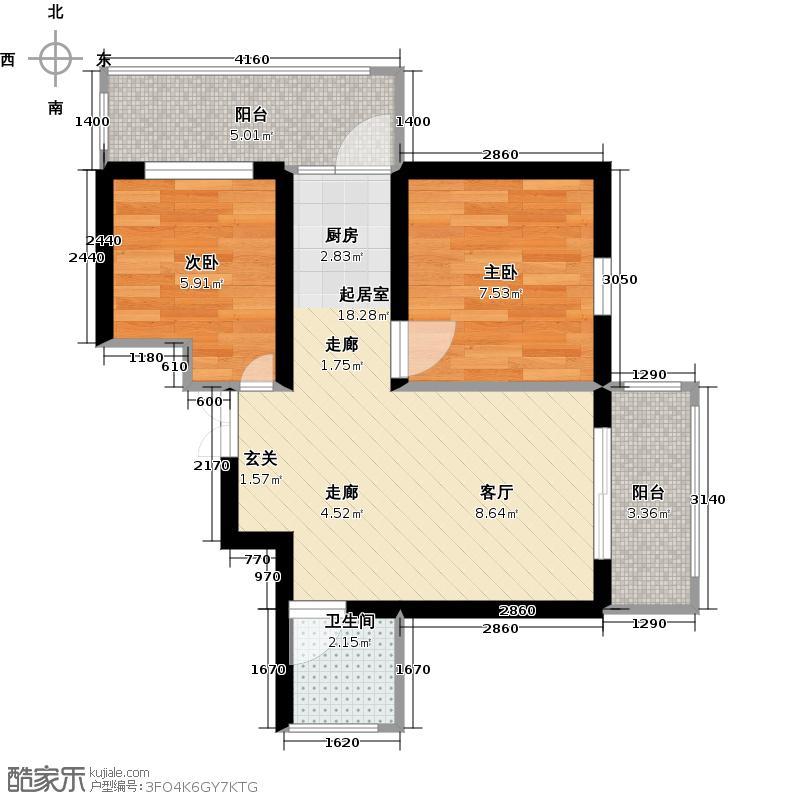 北岸七英里49.24㎡二居一厅使用面积49.24平方米户型2室1厅1卫