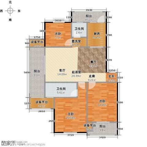 喜利达名苑3室0厅2卫1厨140.00㎡户型图