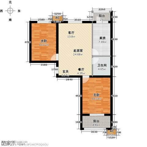 恒星花园2室0厅1卫1厨83.00㎡户型图