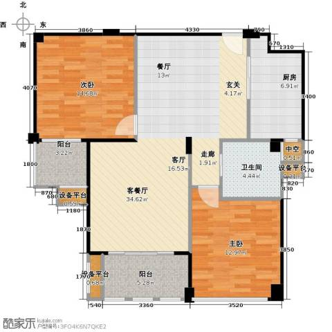 春江名城2室1厅1卫1厨93.00㎡户型图