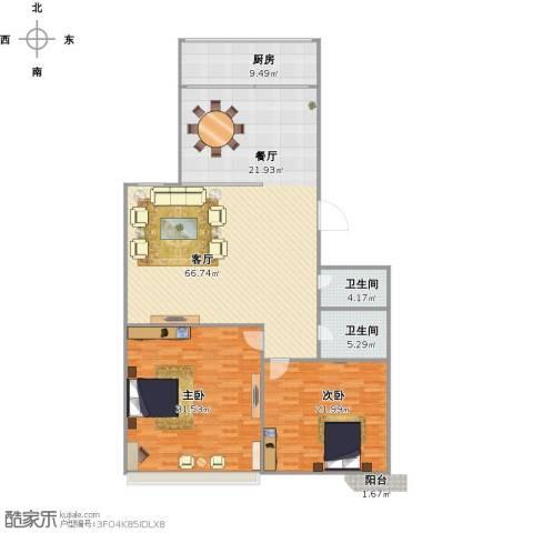 新馨家园2室1厅2卫1厨183.00㎡户型图