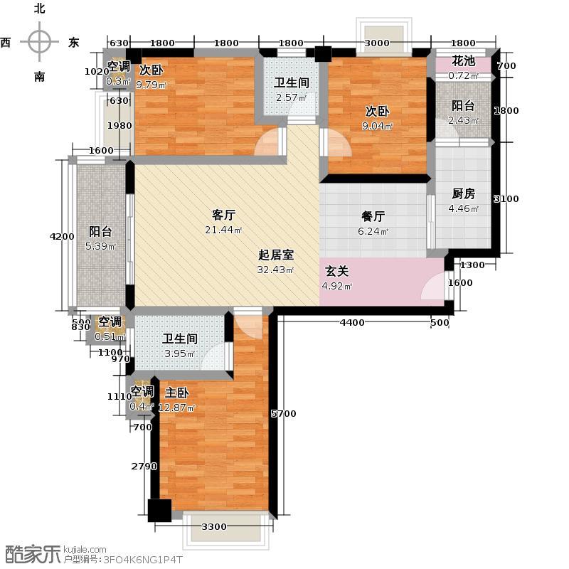 龙泉华庭110.42㎡B2户型3室2厅2卫