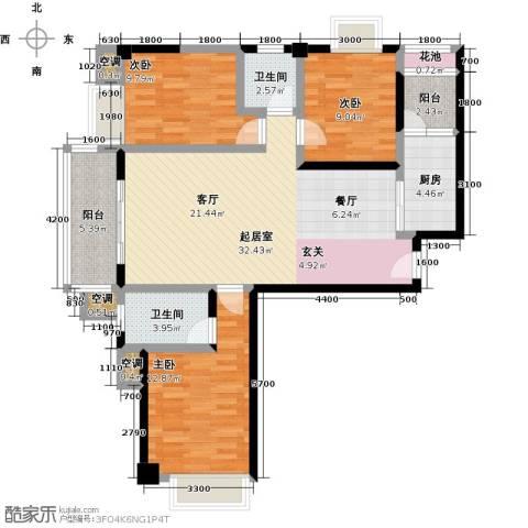 龙泉・华庭3室0厅2卫1厨110.00㎡户型图