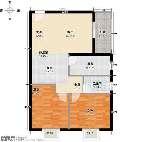 万代财富广场2室0厅1卫1厨83.00㎡户型图
