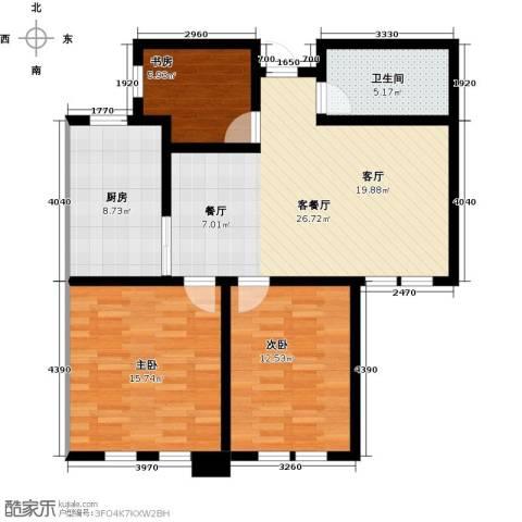 东发现代城3室1厅1卫1厨85.00㎡户型图