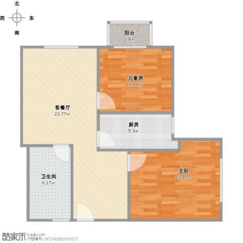 阳光华庭2室1厅1卫1厨80.00㎡户型图