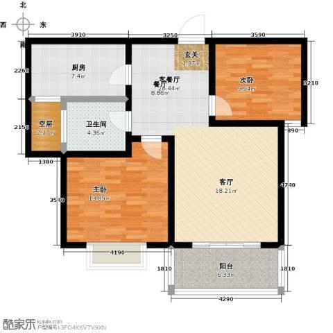 都市明星花园2室1厅1卫1厨105.00㎡户型图