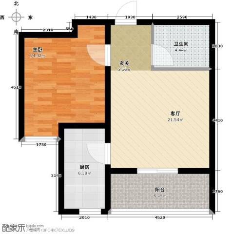 秀兰城市美居1室1厅1卫1厨61.00㎡户型图