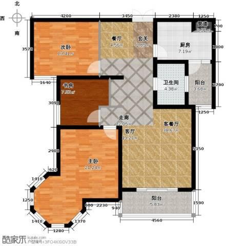 南阳桂花城御景3室1厅1卫1厨117.00㎡户型图