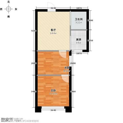 东发现代城2室1厅1卫1厨46.00㎡户型图