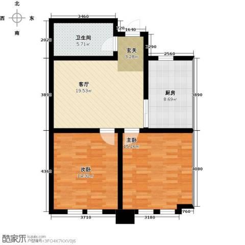 东发现代城2室1厅1卫1厨72.00㎡户型图
