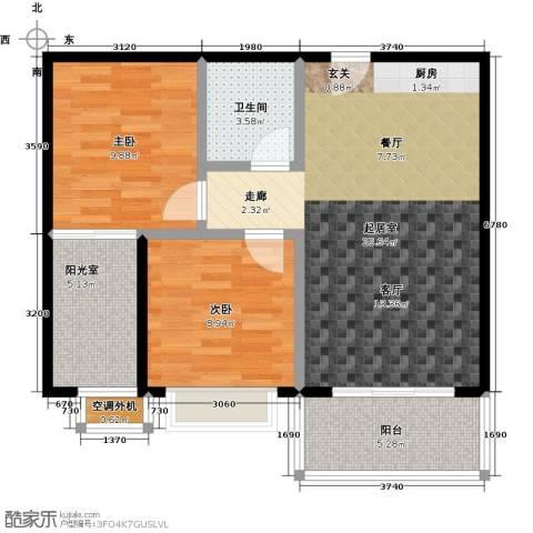 苏荷公寓2室0厅1卫0厨84.00㎡户型图