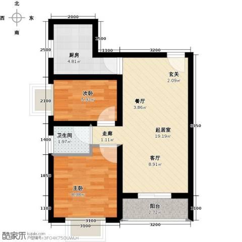 海韵馨园2室0厅1卫1厨61.00㎡户型图