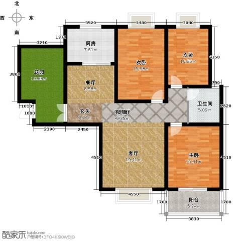 南阳桂花城御景3室1厅1卫1厨130.00㎡户型图
