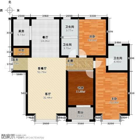 秀兰城市美居3室1厅3卫1厨141.00㎡户型图