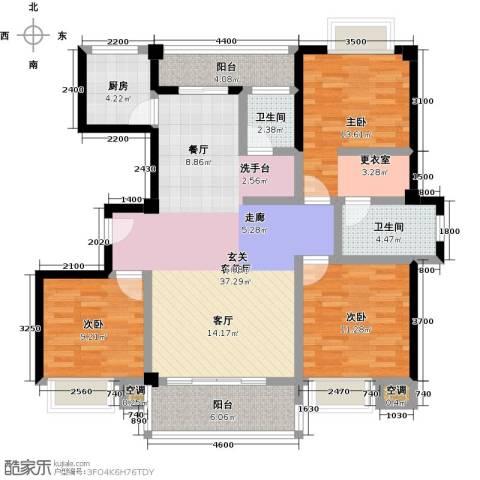 龙泉・华庭3室1厅2卫1厨126.00㎡户型图