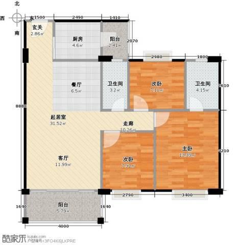金朗华庭3室0厅2卫1厨87.12㎡户型图