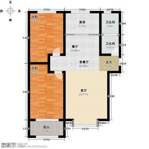 秀兰城市美居2室1厅2卫1厨111.00㎡户型图