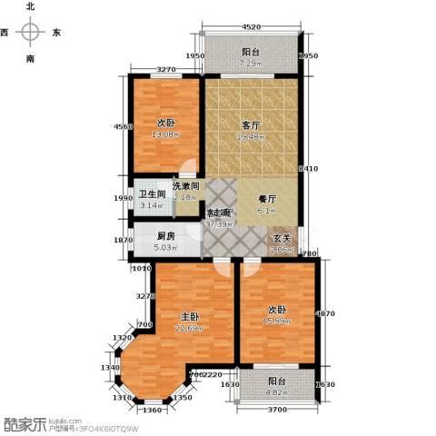 南阳桂花城御景3室1厅1卫1厨124.00㎡户型图
