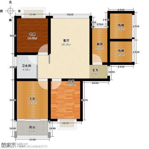 东发现代城3室1厅1卫1厨99.00㎡户型图