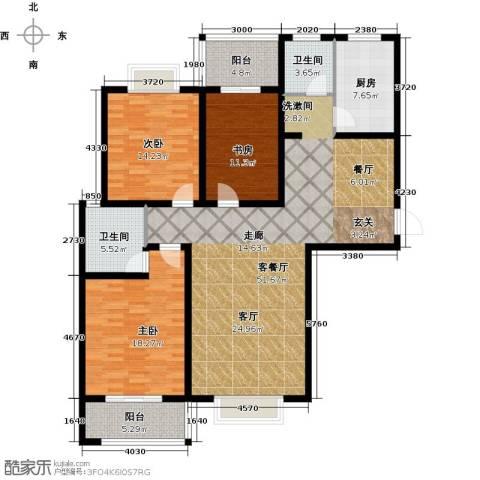 南阳桂花城御景3室1厅2卫1厨139.00㎡户型图