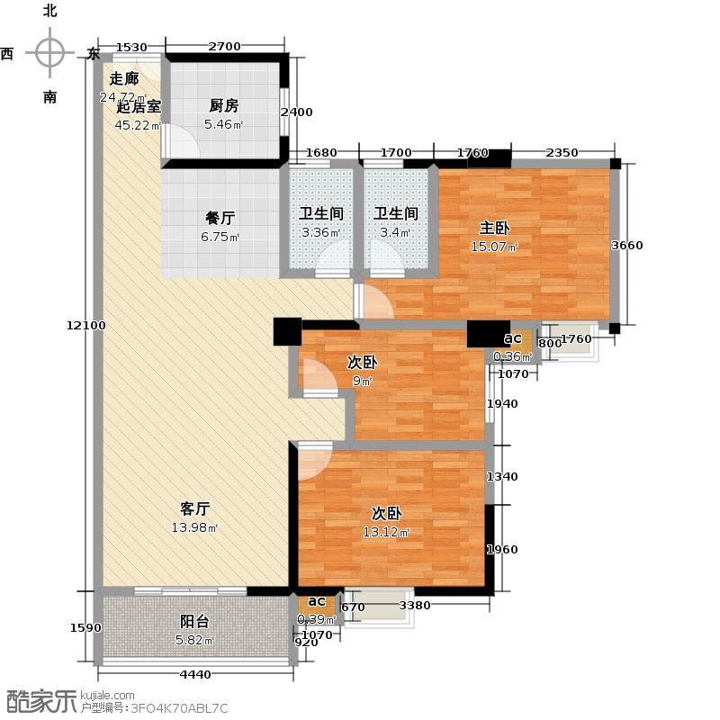 桂林翰林轩126.00㎡B、C、D栋7、8号户型(优雅三房)户型3室2厅2卫