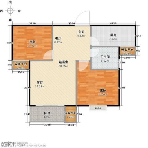 泰和世家2室0厅1卫1厨99.00㎡户型图