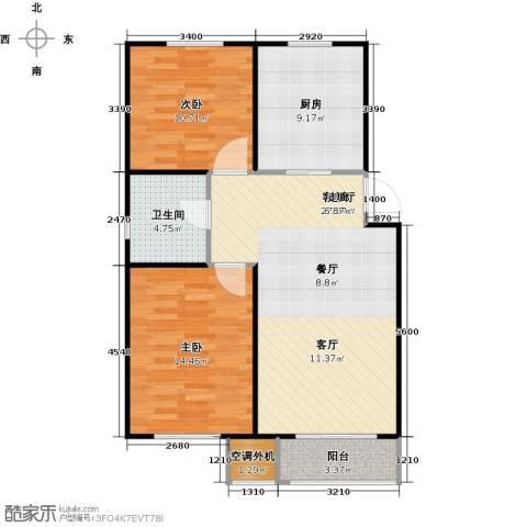 宇生・如意湾2室1厅1卫1厨102.00㎡户型图