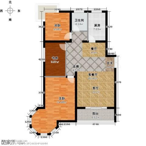 南阳桂花城御景3室1厅1卫1厨114.00㎡户型图