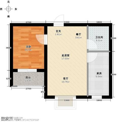 海韵馨园1室0厅1卫1厨53.00㎡户型图