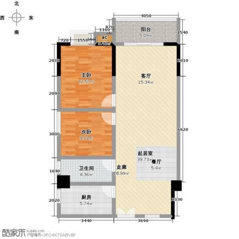 桂林翰林轩2室0厅1卫1厨98.00㎡户型图
