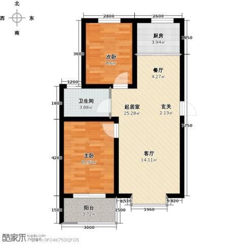 海韵馨园2室0厅1卫1厨81.00㎡户型图
