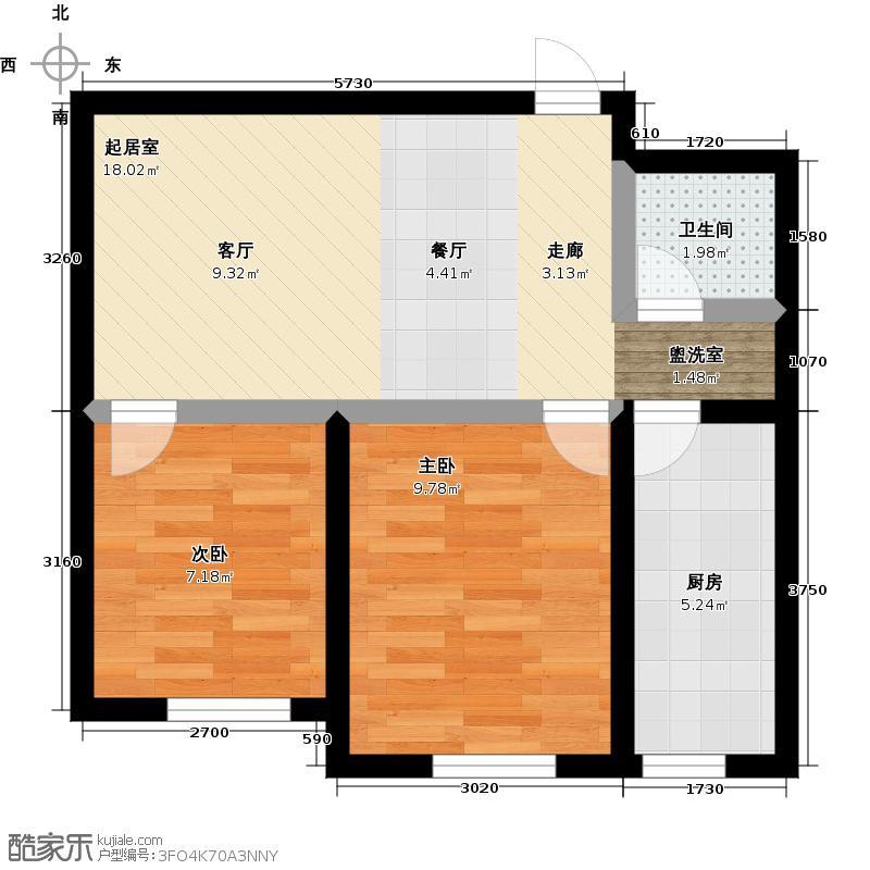 泓宇申林公馆户型2室1卫1厨