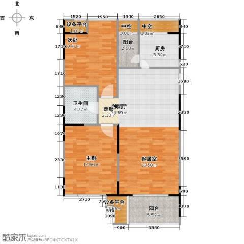 UP青年公社2室1厅1卫1厨101.00㎡户型图
